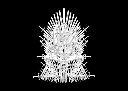 Hand drawn iron throne of Westeros made of antique swords or metal blades. Ceremonial chair built of weapon isolated on black background. Beautiful fantasy design element. Throne Vector illustration Ilustrace