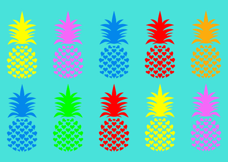 Seamless summer pineapple fruit with vivid fashion colors. Cute tropical pattern, vector texture background