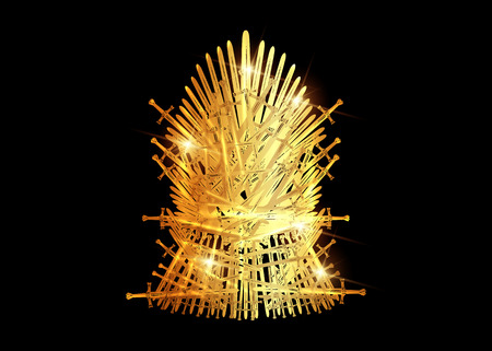 Hand drawn golden iron throne of Westeros made of antique swords or metal blades. Ceremonial chair built of weapon isolated on black background. Beautiful fantasy design element. Gold Throne Vector illustration