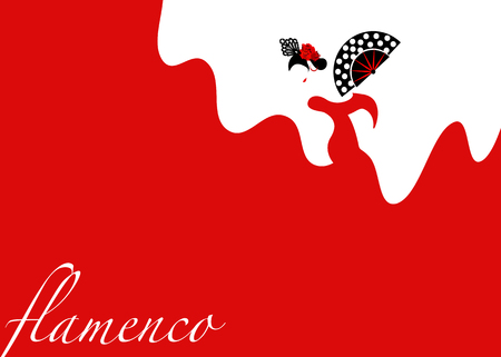 Flamenco dancer template, silhouette Beautiful woman in red long dress with folding fan and peineta in spectacular pose, Latin American artist performer, vector fashion design background