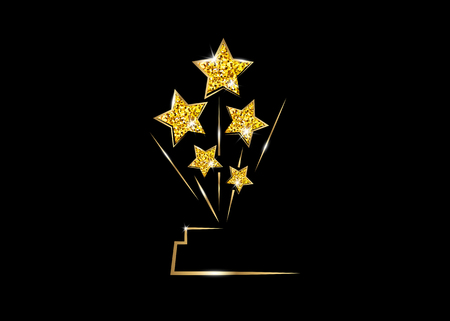 HOLLYWOOD Movie PARTY Gold glitter STAR AWARD Statue Prize Giving Ceremony. Golden stars prize concept, Silhouette statue icon. Films and cinema symbol stock, Academy award vector isolated Stok Fotoğraf - 122494548