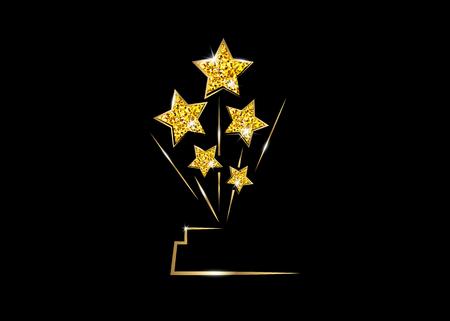 HOLLYWOOD Movie PARTY Goldglitter STAR AWARD Statue Preisverleihung. Goldene Sterne Preiskonzept, Silhouette Statue Symbol. Film- und Kinosymbolvorrat, Academy Award-Vektor isoliert Vektorgrafik