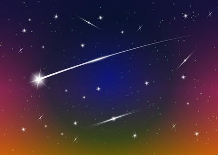 Sternschnuppe Hintergrund gegen dunkelblauen Sternenhimmel, Vektor-Illustration. Weltraum-Hintergrund. Bunte Galaxie mit Nebelfleck und Sternen. Abstrakte futuristische Kulisse. Sternenstaub und leuchtende Sterne