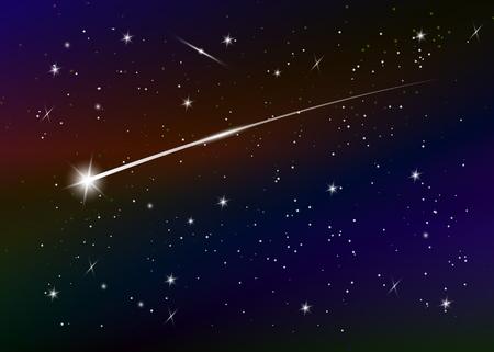 Spadająca gwiazda tło przeciw ciemnoniebieskim gwiaździstym nocnym niebie, ilustracji wektorowych. Tło przestrzeni. Kolorowa galaktyka z mgławicą i gwiazdami. Streszczenie futurystyczne tło. Gwiezdny pył i świecące gwiazdy Ilustracje wektorowe