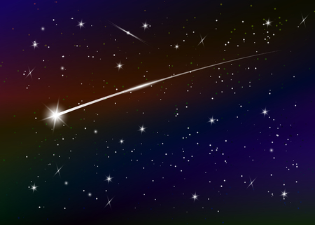 Vallende sterachtergrond tegen donkerblauwe sterrenhemel, vectorillustratie. Ruimte achtergrond. Kleurrijke melkweg met nevel en sterren. Abstracte futuristische achtergrond. Sterrenstof en stralende sterren Vector Illustratie