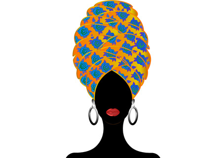 Portrait beautiful African woman in traditional turban, Kente head wrap, dashiki printing, Afro women scarf vector silhouette Africa batik ethnic flowers decoration Ankara style cloth, hairstyle