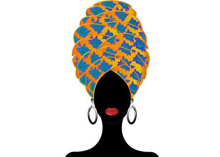Portrait beautiful African woman in traditional turban, Kente head wrap, dashiki printing, Afro women scarf vector silhouette Africa batik ethnic flowers decoration Ankara style cloth, hairstyle