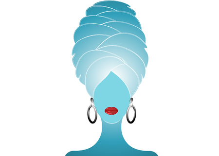 Woman with a towel on the head after shower or bath. Beautiful women with turban logo vector illustration for spa or beauty. Spa girl icon isolated or white background