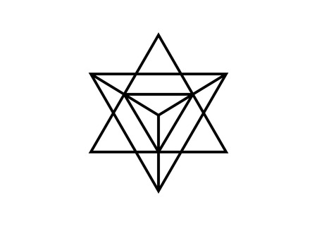 Sacred geometry. Merkaba thin line geometric triangle shape. esoteric or spiritual symbol. isolated on white background. Star tetrahedron icon. Light spirit body, wicca esoteric divination Ilustracja