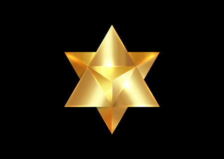 Sacred geometry. 3D gold Merkaba thin line geometric triangle shape. esoteric or spiritual symbol. isolated on black background. Star tetrahedron icon. Light spirit body, wicca esoteric divination