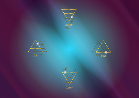 icon elements: Air, Earth, Fire and Water. Wiccan divination symbols. Ancient occult gold symbols, south, east, north, west, vector illustration colorful cosmos space background Illusztráció