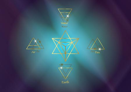 Éléments d'icône : Air Terre Feu Eau et tétraèdre Merkaba Star, symboles de divination Wiccan. Anciens symboles d'or occultes, sud-est ouest ouest, illustration vectorielle fond d'espace cosmos coloré Vecteurs
