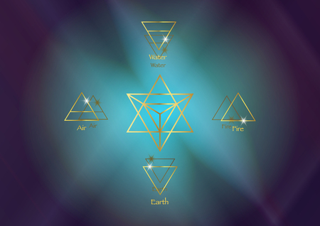 icon elements: Air Earth Fire Water and Merkaba Star tetrahedron, Wiccan divination symbols. Ancient occult gold symbols, south east west west, vector illustration colorful cosmos space background Vettoriali