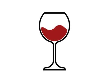 Rotweinglas-Symbol, Weinglas, Glaswaren-Symbol-Vektor-Kunst-Illustration isoliert oder weißer Hintergrund
