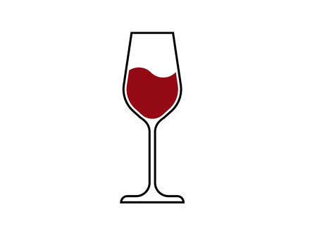 Red Wine Glass Icon, Wineglass  , Glassware Icon Vector Art Illustration isolated or white background