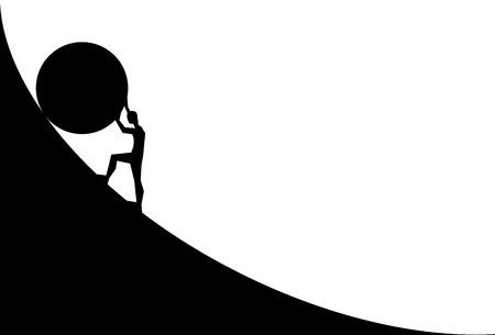 hombre empujando gran roca cuesta arriba. Silueta de dibujos animados de vector en diseño plano aislado sobre fondo blanco