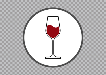 Red Wine Glass Icon, Wineglass, Glassware Icon Vector Art Illustration isolated transparent background, round label sticker 矢量图像
