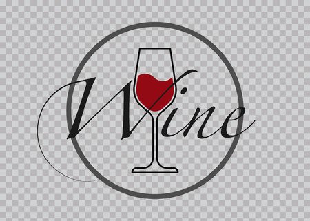Red Wine Glass Icon, Wineglass icon with text, Glassware Icon Vector Art Illustration isolated red background, round label sticker 矢量图像
