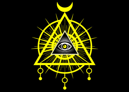 Sacred Masonic symbol. All the eye, the third eye, The Eye of Providence inside triangle pyramid. New World Order. Yellow icon alchemy, religion, spirituality, occultism. Vector isolated or black