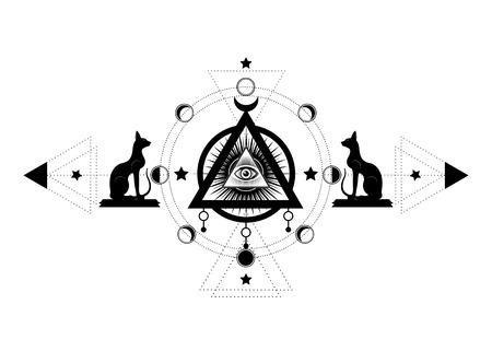 Dessin mystique : le troisième œil, œil qui voit tout, cercle d'une phase de lune. Géométrie sacrée et chats égyptiens Bastet déesse de l'Egypte ancienne. Vecteur isolé pour impression, affiche, t-shirt, carte, symbole de tatouage Vecteurs