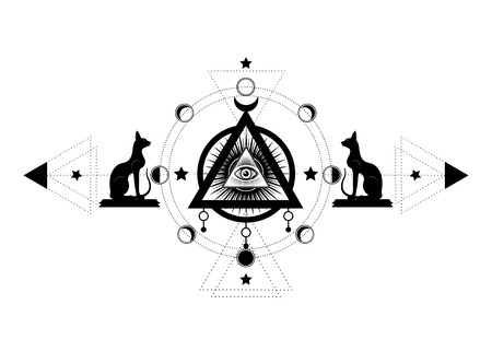 Mystical drawing: the third eye, all-seeing eye, circle of a moon phase. Sacred geometry and Egyptian cats Bastet ancient Egypt goddess. Vector isolated for print, poster, t-shirt, card, tattoo symbol