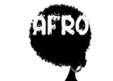 curly afro hair, African women portrait, dark skinned female face with curly hair afro, ethnic traditional earrings, hair style concept, Afro grunge text, vector isolated on white background