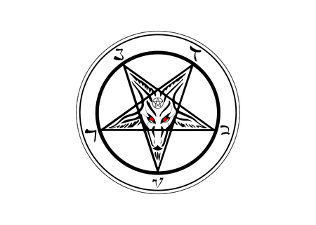 The Sigil of Baphomet original Goat Pentagram, vector isolated or white background