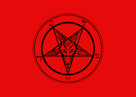 The Sigil of Baphomet original Goat Pentagram, vector isolated or red background