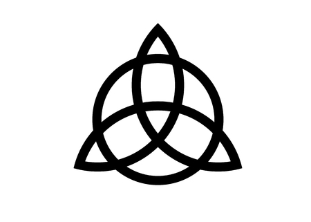 Triquetra, Trinity Knot, Wicca-Symbol zum Schutz. Vektor-schwarzer keltischer Dreifaltigkeitsknotensatz lokalisiert auf weißem Hintergrund. Wicca-Wahrsagungssymbol, alte okkulte Symbole