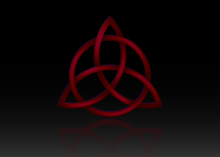 Triquetra logo, Trinity Knot, Wiccan symbol for protection. 3D Vector red Celtic trinity knot set isolated on black background. Wiccan divination symbol, Ancient occult symbols Stock Illustratie