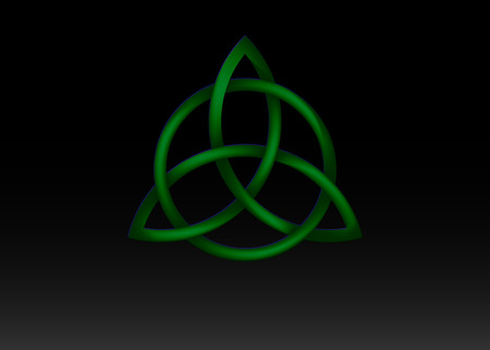 Triquetra logo, Trinity Knot, Wiccan symbol for protection. 3D Vector green Celtic trinity knot set isolated on black background. Wiccan divination symbol, Ancient occult symbols