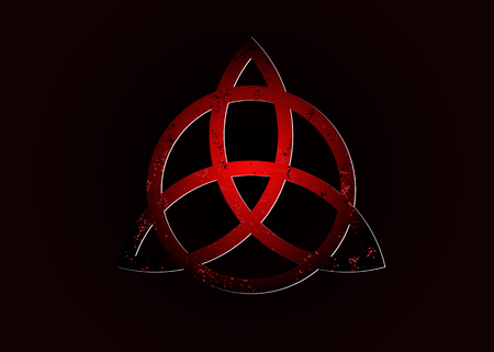 Triquetra logo, Trinity Knot, Wiccan symbol for protection. 3D Vector dark red Celtic trinity knot set isolated on black background. Wiccan divination symbol, Ancient occult symbols