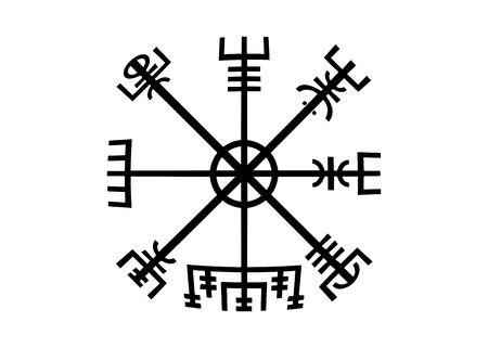 Decoding the ancient of the symbols Norsemen. Vegvisir Viking Compass. The Vikings used many symbols in accordance with Norse mythology, widely used in the Viking society. Logo icon Wiccan esoteric