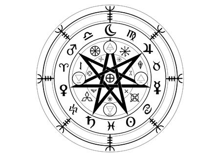 Wicca-Symbol des Schutzes. Set von Mandala Witches Runen, Mystic Wicca Weissagung. Alte okkulte Symbole, Earth Zodiac Wheel of the Year Wicca astrologische Zeichen, Vektor isoliert oder weißer Hintergrund Vektorgrafik