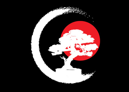 Japanese bonsai tree logo, white plant silhouette icons on black background, green ecology silhouette of bonsai and red sunset. Detailed image. Bio nature concept. Japanese flag icon. Vector isolated Иллюстрация