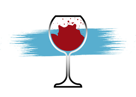 Red Wine Glass Icon, Wineglass logo, Glassware Icon Vector Art Illustration isolated or white background