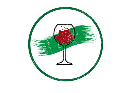 Biological wine concept, Organic Red Wine Glass Icon, Biodynamic cultivation, Wineglass logo, Glassware vintage round symbol Icon Vector Art Illustration isolated or white background 矢量图像