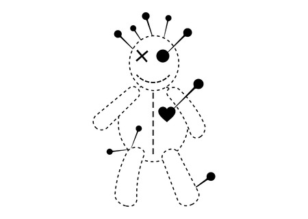 Voodoo Doll Halloween Line Icon Concept, cartoon doll in unrequited love, T-shirt design, vector isolated On White Background