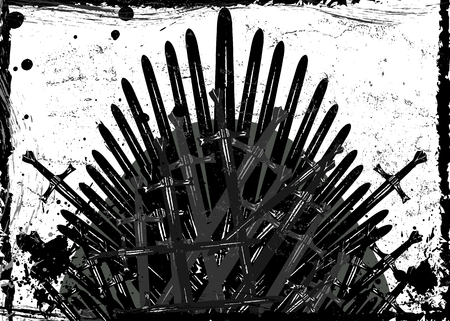 Thrones fantasy concept. Hand drawn iron throne of Westeros made of antique swords or metal blades. Ceremonial chair built of weapon dark brush texture background. Vector grungy design element frame Vettoriali