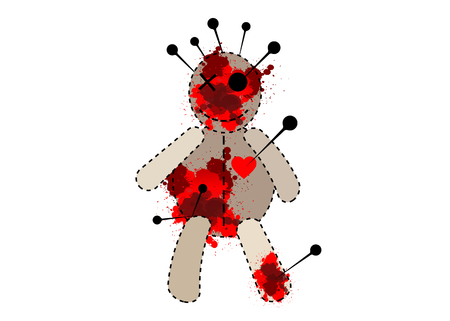 Voodoo Doll for black magic, vector isolated