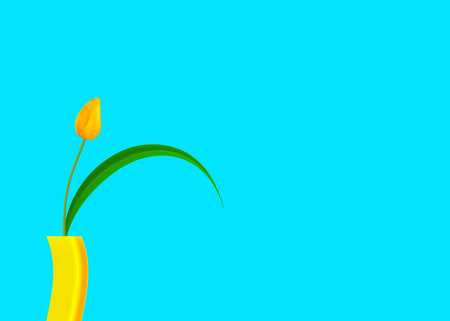 Still life of yellow tulip with bright colored turquoise background, vector fashion illustration isolated on blue