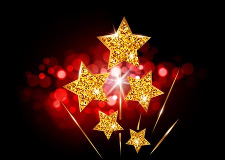 Hollywood Stars laughed up to glory. Movie party gold glitter star award, vector academy vip card on bright red blurry background