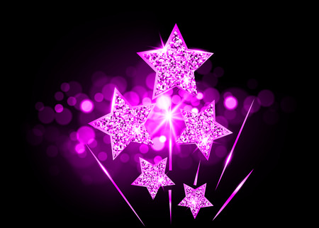Hollywood Stars laughed up to glory. Movie party pink gold star award, vector academy vip card on bright purple fashion blurry background