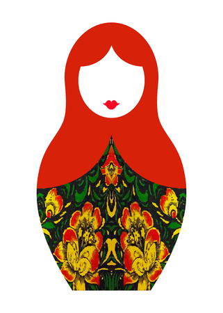 Matryoshka icon Russian nesting doll, vector isolated or white background Ilustração