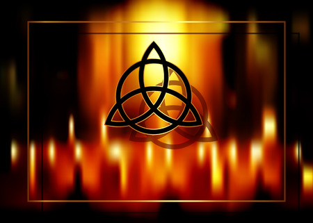 Triquetra, Trinity Knot, Wiccan symbol for protection. Blurred fire background of burning magic candles. Vector mystic ancient occult symbol for divination and esotericism Çizim