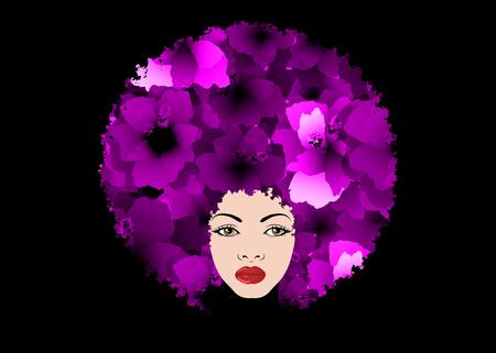 Composition décorative violette avec fille portrait silhouette. Concept de centre de beauté, salon de coiffure, Spa. Coiffe florale violette en coiffé bouclé. Portrait de belle jeune femme avec des fleurs Vecteurs