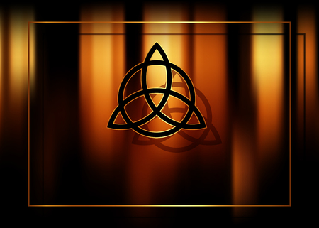 Triquetra, Trinity Knot, Wiccan symbol for protection. Blurred fire magic background with shadows. Vector mystic ancient occult symbol for divination and esotericism Illustration