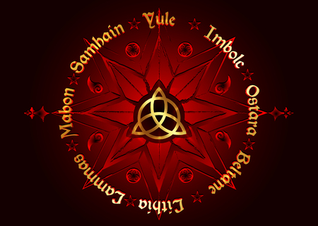 Book Of Shadows Wheel Of The Year Modern Wiccan Paganism. Wiccan calendar and holidays. Red golden Compass with the middle Triquetra symbol from charmed celtic. Vector isolated on black background