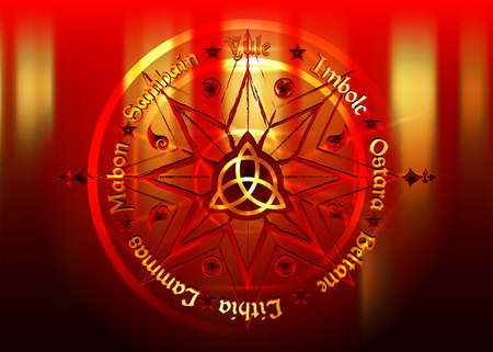 Book Of Shadows Wheel Of The Year Wiccan calendar and holidays. Red golden Compass with the middle Triquetra symbol from charmed celtic. Vector isolated on gold background