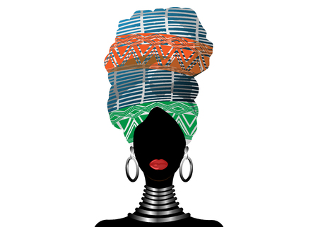 African scarf, portrait Afro woman in a striped turban. Tribal Wrap fashion, Ankara, Kente, kitenge, African women dresses. Nigerian style, Ghanaian headwrap. Vector for Print, poster, t-shirt, card Ilustrace
